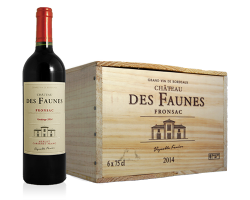 Château Des Faunes Fronsac 2014 (6 Flaskor I Trälåda)