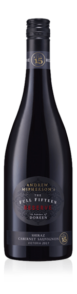 Andrew McPherson's The Full Fifteen Reserve Doreen's Shz Cab 2017 Shiraz