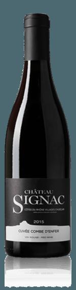 Château Signac Côtes du Rhône Village Chusclan Combe d'Enfer 2015 Grenache 52% Grenache, 23% Syrah, 11% Carignan, 8% Counoise, 8% Mourvèdre Rhônedalen