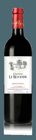 Chateau le Roudier 2015 (i trälåda) Merlot 85% Merlot, 10% Cabernet Franc, 5% Cabernet Sauvignon Bordeaux