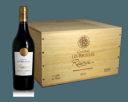 Chateau les Reuilles Bordeaux Superieur Réserve 2016 (i trälåda)