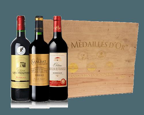 Medaille d´OR Bordeaux (3 flaskor i trälåda)